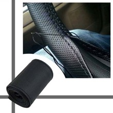 2pcs/lot DIY Leather Car Auto Steering Wheel Cover With Needles and Thread Black