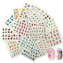 SWEET TREND 50Sheets Beauty Floral Designs Nail Stickers Mixed Decals Water Transfer Sticker DIY Nail Art Decoration LA1051-1100(China)