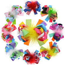 "8PCS 5"" Kids Hair Feather Clips Big Girls Loopy Ribbon Puff Hair Bow Clips/Barrettes Luxury Brand Hair Accessories(China)"