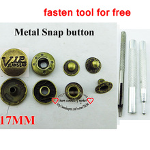 (Fasten tool free)20PCS 17mm VIP bronze tone snap button jeans buttons handbag accessory SMB-08a