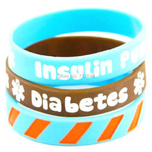 300pcs a lot diabetes insulin pump 2 wristband  rubber cuff wrist bands bangle free shipping by FEDEX express