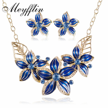 Female Enamel Flower Jewelry Sets Necklace Earrings African Maxi Statement Jewelry Wedding Bridal Pendant Dress Accessories