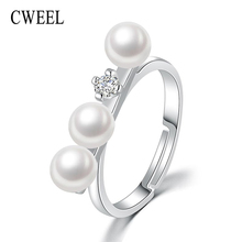 CWEEL 925 Sterling Silver Rings India Wedding Engagement Ring For Women Natural White Freshwater Pearl Ring Female Charm Rings(China)