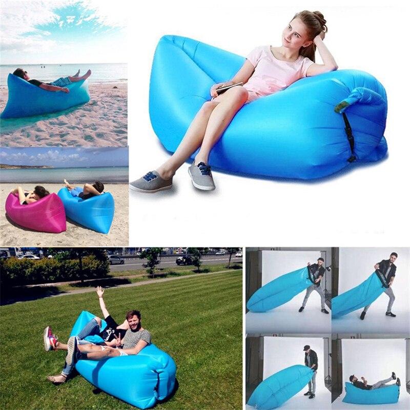 1pcs наружный ленивый спальный мешок дивана портативный складной надувной пляж кровати обеденного перерыва циновки дивана-кровати, располагаясь лагерем надувной матрас