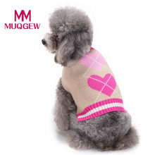 pet dog knit sweater coat large small Hoodies clothing winter warm christmas costume Heart Pattern Puppy cat Cute Clothes 2017(China)
