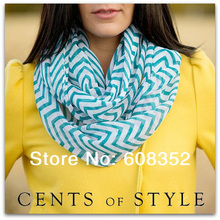 2014 Fashion Chevron Wave Print Scarf Circle Loop Infinity Scarves Women ZigZag Pattern Voile Stripe Ring Scarf Free Shipping(China)