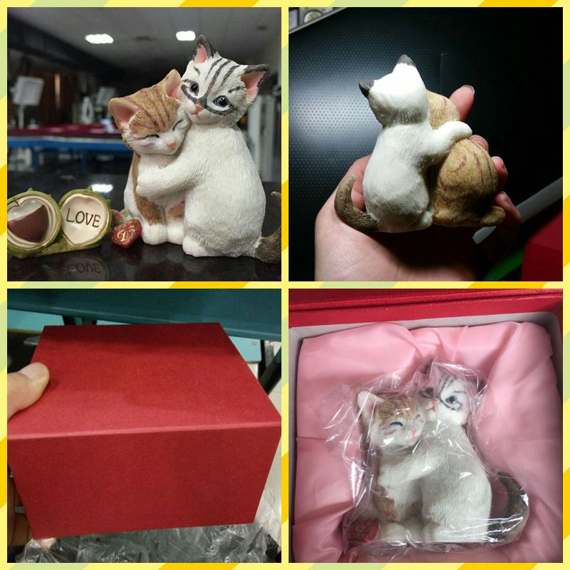 Free shipping Lifelike Cat Valentine lovers Kit couple Figure Resin toy cake home office car decor party girlfriend gift pack<br><br>Aliexpress