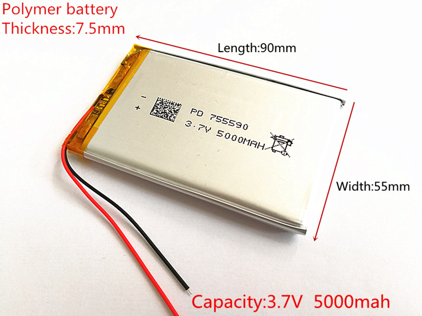 3.7V 5000mAh Lithium Polymer LiPo Rechargeable Battery cells For Mp3 Power bank PSP mobile phone PAD protable tablet PC 755590