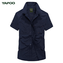 TAPOO 2017 New Arrival Summer Man Casual Shirt Solid Comfortable Pea Green Multi-pockets Button Short Sleeve Shirt Men Clothing