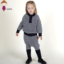 Brand Kids Winter Clothes Set Baby Girl Cardigan Sweater Children Knitted Stripes Wool Sets Infant Boys Sport Warm Clothing Suit(China)
