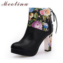 Meotina Brand Boots Women High Heels Flower Ankle Boots Platform Shoes Zip Lace Up Round Toe Ladies Sexy High Heel Boots Black