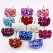 6pcs 3.5cm Small Silk Scrapbooking Flowers Artificial Chrysanthemum DIY Hair Accessories Mini Craft Flowers(China)