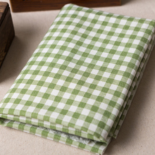 Linen/Cotton Fabric DIY Green Plaid Soft Fabric Handcraft Curtain For Sofa Tablecloth Pillow Fabric Cloth Gray 1mx1.5 m