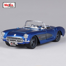 High Quality Maisto 1/24 Chevrolet Corvette 1957 Diecast Car Model Metal Vintage Car Toy With Box For Kids Birthday Gifts Toy(China)