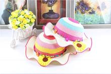 princess Toddler girl summer sun hat straw hat child wave beach hat 5pcs/lot MZ5001