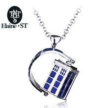 EST dr doctor who necklace rotating tardis police box vintage blue and silver pendant jewelry for men and women wholesale