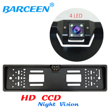 Newest Product Car Reversing Rear View Camera European License Plate Night Vision Backup Parking Sensor,Free Shipping