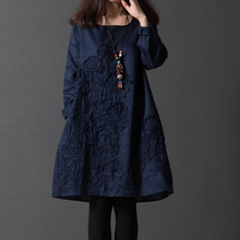 2017 Spring Fashion Retro Cotton Linen Women Dress Shirt Embroidered 6 Color Print Dress Casual Long Sleeve Dresses Plus Size