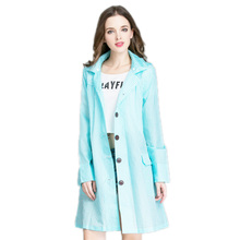 Grid Women Raincoat With Detachable Hood Waterproof Rain Coat Fashion Long Rain Poncho Trench Coat