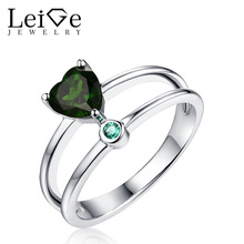 Leige Jewelry Green Natural Diopside Ring Double Band Gemstone Heart Cut Sterling Silver Wedding Rings Christmas Gift for Her