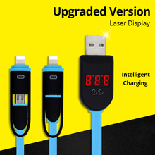 High Quality 2 in 1 Digital intelligent LCD Laser Display Micro USB Lighting Data Charge Sync Cable,Voltage Current Cable Cord