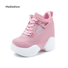hot sale 2017 Fashion brand Women's High Platform Shoes  Height Increasi leathe Shoes 12 CM Thick Sole Trainers Lady Shoes pink