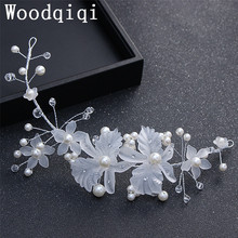 Woodqiqi Korean bride headdress aesthetic hand flower head flower pearl hair band wedding hoop wedding dress accessories(China)