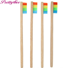 PRETTYSEE 4Pcs Bamboo Charcoal Toothbrush Rainbow Bamboo Dental Brush Medium Natural Teeth Whitening Brush Soft(China)