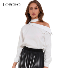 One Off Shoulder Shirt Women Tops Spring 2018 New Fashion Long Sleeve Blouse White Black Choker Loose Chiffon Blouse Streetwear(China)
