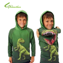 Children Long Sleeve T Shirt 3D Novelty Boys Outwear Spring Autumn Kids Tops Dinosaur Cotton Hooded Clothing Drop Free Ship(China)