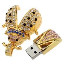 Sliver Diamond Insect USB Flash Drive Genuine Capacity 16GB 32GB 64GB Gift Jewelry Pen Drive Pendrive 512GB Memory Stick 128GB
