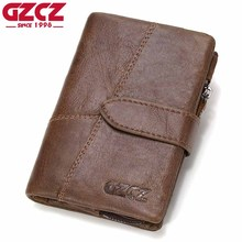 GZCZ Genuine Leather Retro Men Wallets High Quality Famous Brand Hasp Design Male Wallet Card Holder for Men's Purse Carteira(China)