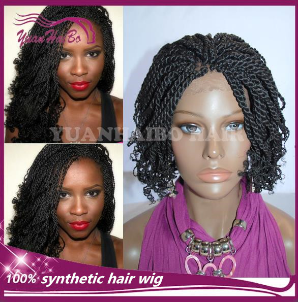 Braided Lace Wig! #1b kinky twists synthetic hair braided lace front wig for black women Free Shipping<br><br>Aliexpress