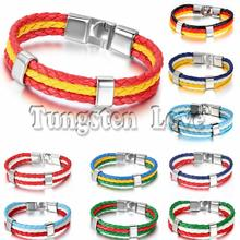 World Cup National Flags Sports 3 Layers Rope Braided Leather Bracelets Unisex Mens Bracelets 8.3 inch pulseira masculina couro(China)
