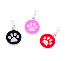 New Personalized Metal Round Paw Shaped Pet ID Tag 23mm Glitter Colorful Engraved Custom stainless steel Dog Tag AE0411(China)