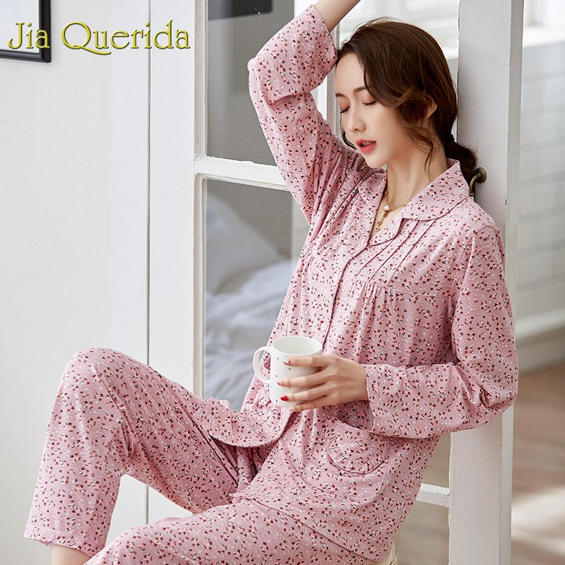 J&Q Pijama Mujer 2019 Spring New Pink Lapel Floral Night Suit Homeware Lingerie Femme Elegant Brand Pajamas For Women Plus Size