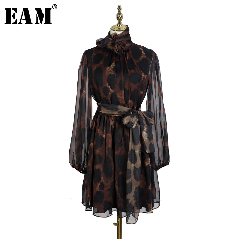 [EAM] 2019 New Spring Summer Stand Collar Bandage Bow Long Sleeve Leopard Printed Perspective Dress Women Fashion Tide JL488