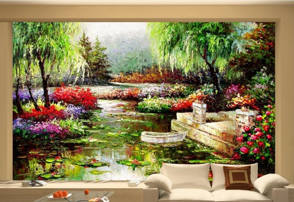 customize 3d window wallpaper photo mural wallpaper Oil painting landscape painting background wall 3d stereoscopic wallpaper<br>