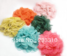 10 Pieces 6 inches Unique Big Chiffon Lace Brooches Hair Flower Clip Boutique Fashion Women Hairwear Jewelry