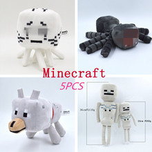 5pcs/lot Minecraft Plush Stuffed Toys New Minecraft Ghost Wolf Spider Skeleton Soft Plush Toy Cartoon Game Toys Gift For Kids(China)