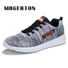 Men Running Shoes Outdoor Athletic Sport Sneakers Spring And Summer Breathable Mesh Upper Lace Up Black Gray Light