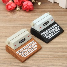 KiWarm New Mini Retro Typewriter desktop figurines wooden message note clip pictures photo holder Home decor Arts crafts gift