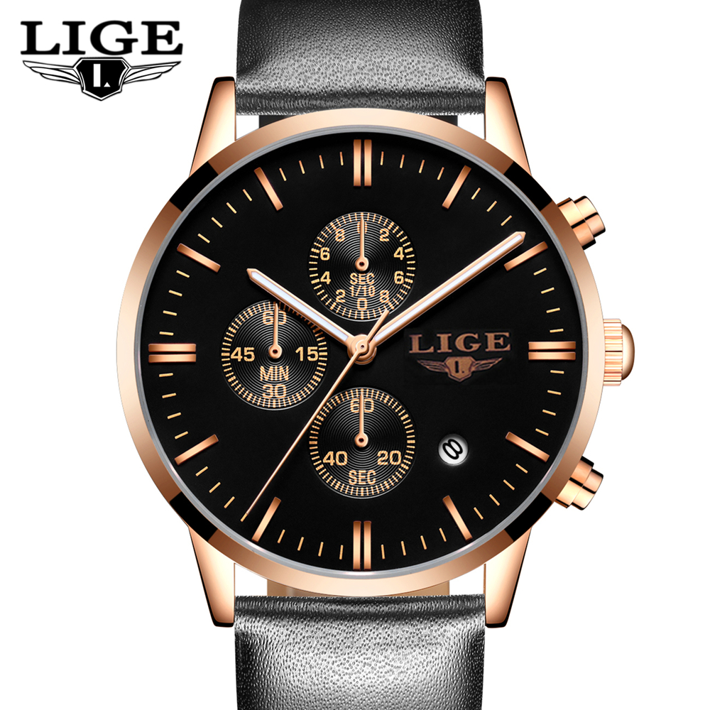 Mens Watches Fashion Casual Sport Quartz Watch Men Chronograp Clock Man Leather Business Wrist watch Relogio Masculino LIGE <br><br>Aliexpress
