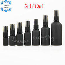 5ml / 10ml Black Mineral Glass Sand Fine Mist Spray Bottle,Lotion Glass Bottle,Homemade Personal Care Empty Perfume Spray Bottle(China)