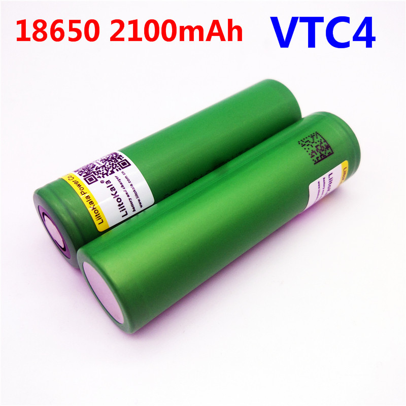 1pcs Liitokala New 100% Original 3.6V 18650 VTC4 2100mAh High drain 30A Rechargeable battery For Electronic cigarettes batteries