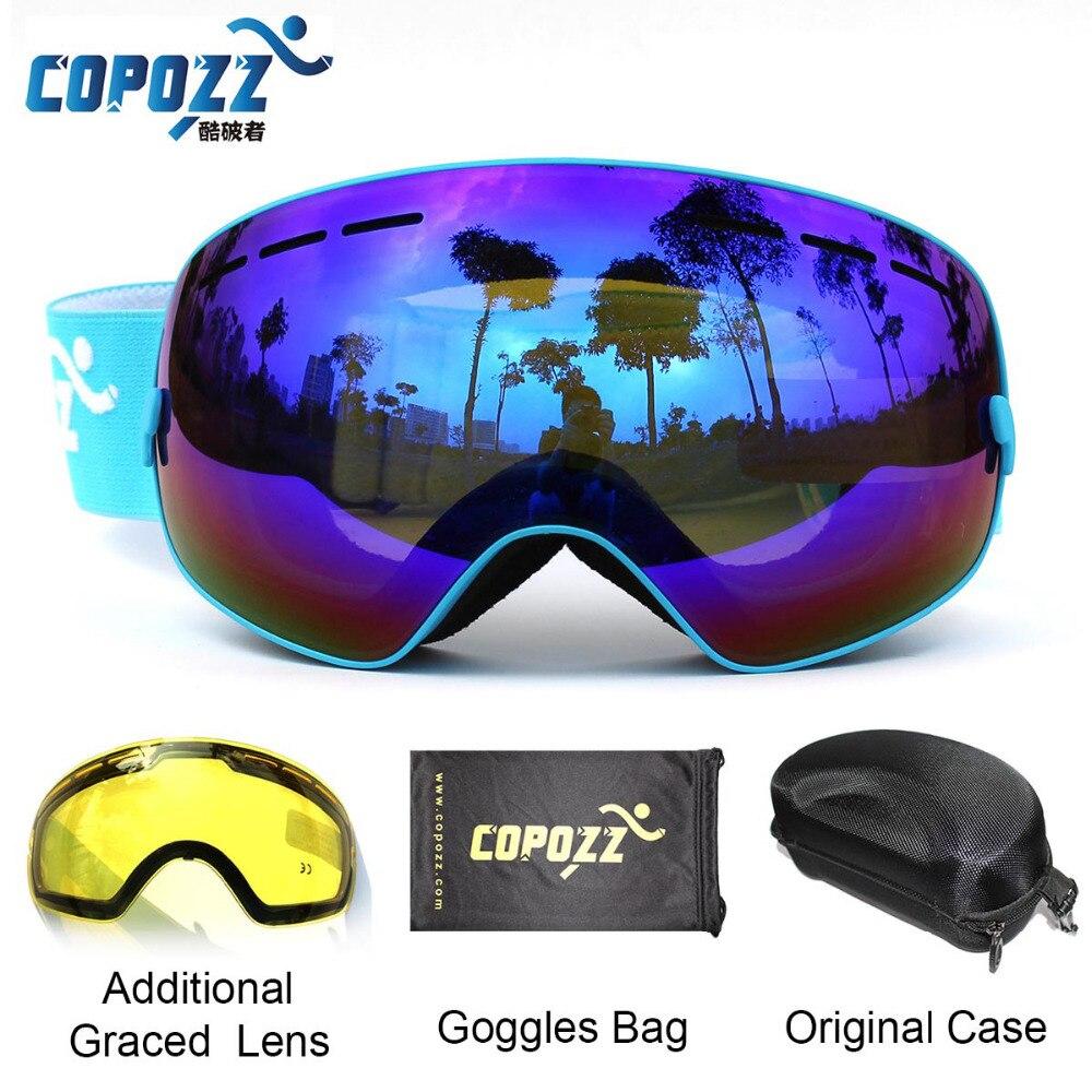 COPOZZ Ski Goggles with Case &amp; Yellow Lens UV400 Anti-fog Spherical ski glasses skiing men women snow goggles + Lens + Box Set<br>