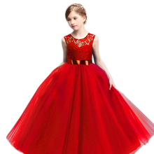 New Lace Flower Girl Wedding Birthday Dress Children Graduation Prom Gown Tulle Kids Party Costume Teenage Girl Ceremony Clothes