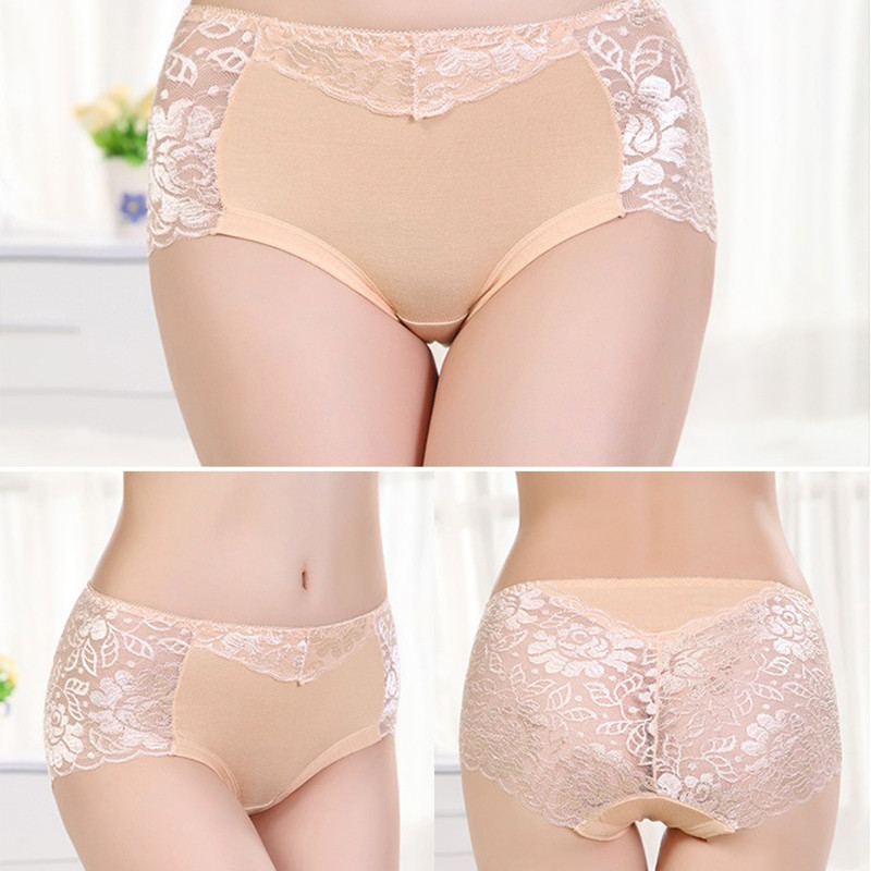 Women's Cotton Underwear, Seamless Briefs, Sexy Panties, Full Transparent Lace 14