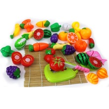 24Pcs/Lot Food Kitchen Toys Cut Fruit Toys Plastic Food Toy Vegetable Cutting Pretend Play Kids Kitchen Children Educational Toy(China)