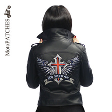MotoPATCHES Embroidered Iron On Patches Large Punk God Speed You Cross Wing Badge Biker Patches For Clothing(China)